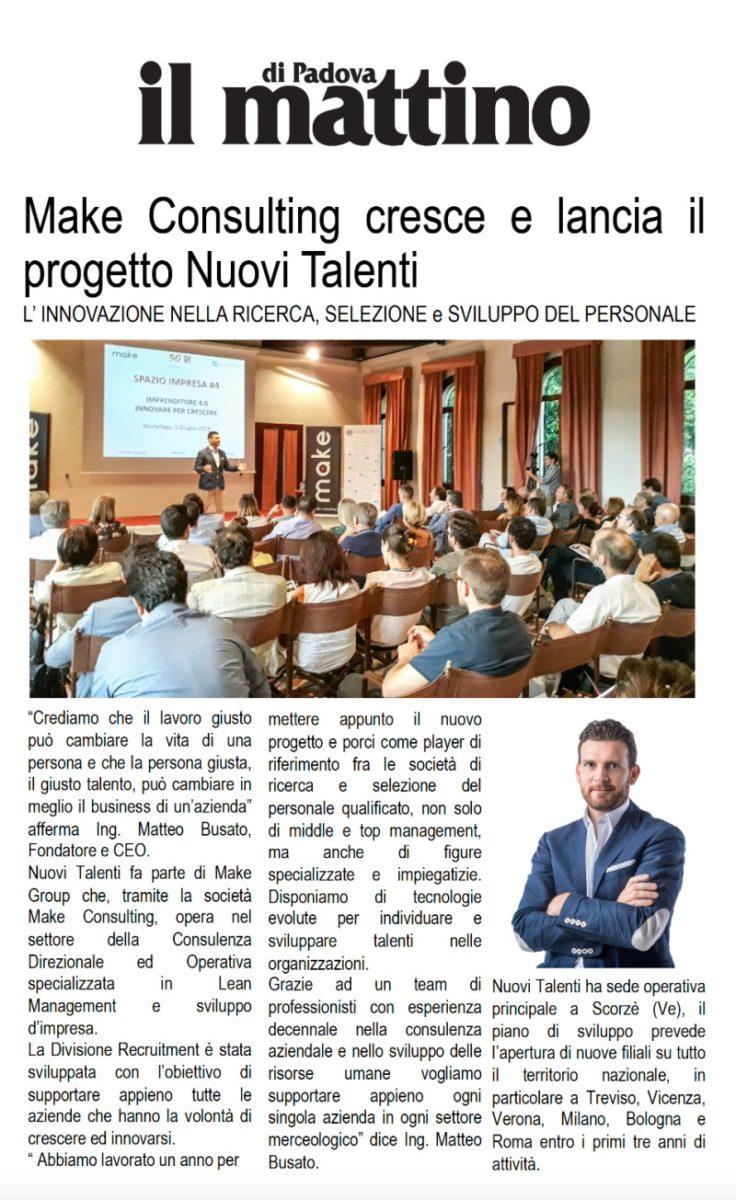 Nuovi-Talenti-Make-Consulting-su-Il-Mattino-Padova