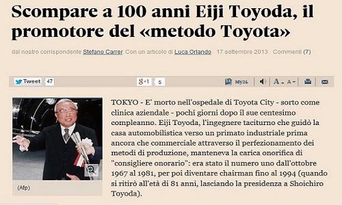 Scompare a 100 anni Eiji Toyoda, il promotore del «metodo Toyota»