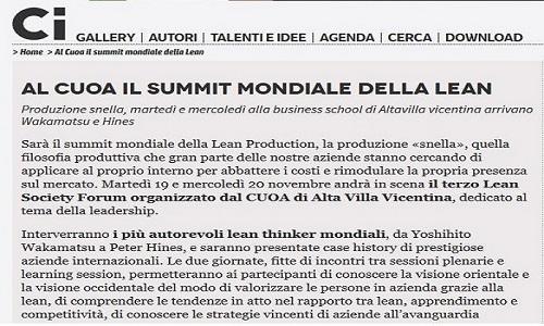 Al Cuoa il summit mondiale della Lean