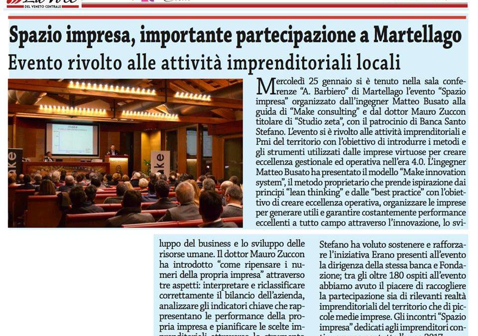 Make Consulting Srl su La Voce: Spazio Impresa, importante partecipazione