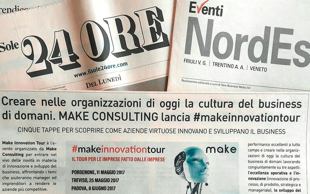 Il Sole 24 ORE: Creare nelle organizzazioni di oggi la cultura del business di domani. Make Consulting lancia #makeinnovationtour