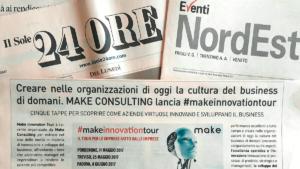 Articolo il sole 24 ore. Creare nelle organizzazioni di oggi la cultura del business di domani. make consulting lancia make innovaion tour