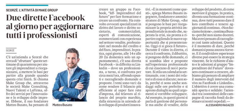 Aiuto alle Imprese - Articolo La Nuova Venezia