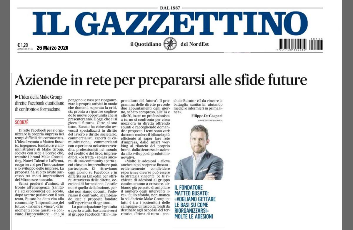 Il-Gazzettino: Imprenditore del futuro in aiuto alle imprese in difficoltà