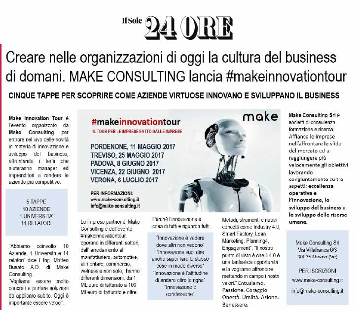 Creare nelle organizzazioni di oggi la cultura del business di domani. MAKE CONSULTING lancia #makeinnovationtourCreare nelle organizzazioni di oggi la cultura del business di domani. MAKE CONSULTING lancia #makeinnovationtour